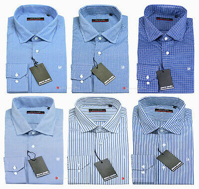 Camicia uomo fantasia righe quadri manica lunga Colletto PICCOLO Slim fit 39/46