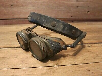 Vintage Rare Welding Goggles Steampunk Made USA With Spring Loaded Arms!