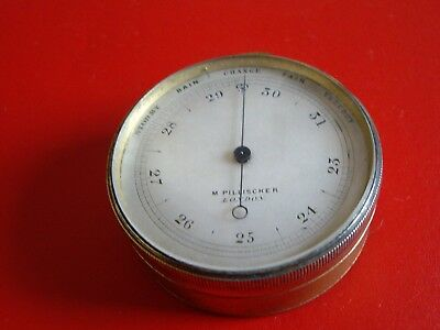 EARLY1860s MINIATURE M. PILLISCHER GILT ANEROID POCKET BAROMETER -FULLY WORKING