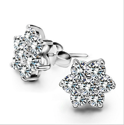 925 Sterling Silver Shiny Crystal Star Earrings Stud Women Christmas Gift