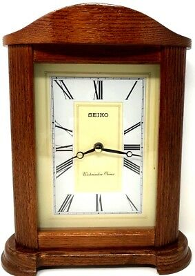 "Vintage Seiko Westminster Chimes Wood Mantel Clock Working 12""H"
