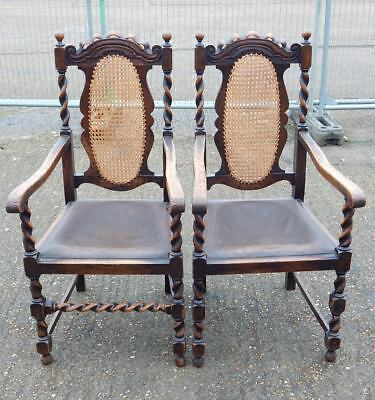 Pair of 2x antique Scottish oak barley twist bergere parlour chairs armchairs