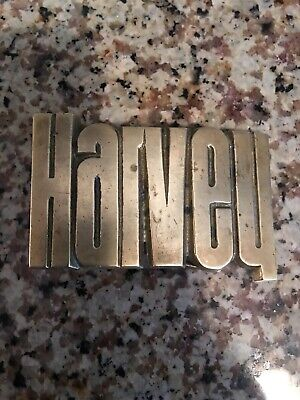 4427 Vintage 1978 Cut-Out Name **Harvey** Solid Brass Baron Belt Buckle Taiwan