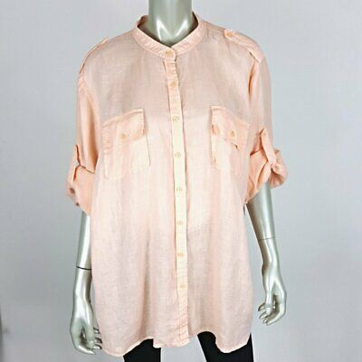 Tommy Hilfiger Womens Linen Button Up Tab Sleeve Top Plus Size 24 Coral Pink