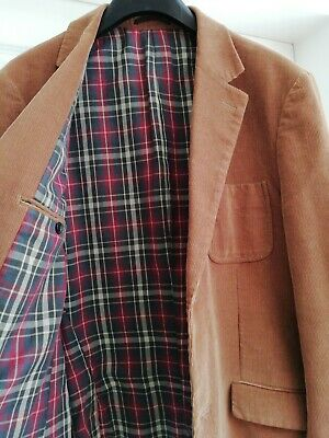 Mens courduroy jacket. Size 40R. Tartan Lining Tan colour Leather look Buttons.