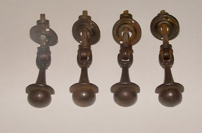 4 Antique Matching Cast Iron Drawer Pulls W/Backplate English Register Rd. Mark