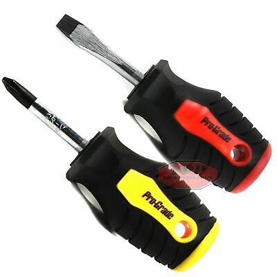 """Stubby Screwdriver Set 2 PC Phillips #2 & Slotted 1-1/2"""" Magnetic Comfort Grip"""