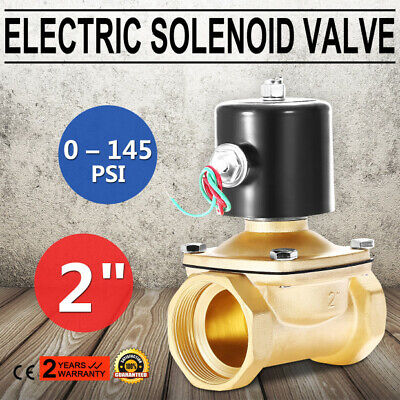 "2"" AC BSP Brass Electric Solenoid Valve 220V No Polarity 22W 2-Way Outlet"