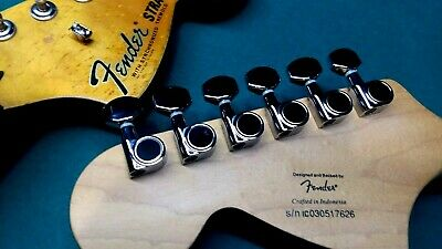 LOT of 7 sets - Fender squier chrome tuning pegs tuners 6 in line Strat Tele