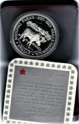 1985 $1 Moose .9999 Silver100th Anniversary of the National Parks of Canada COA