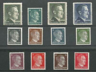 1940's MINT GERMANY 3rd REICH WARTIME HITLER HEADS U/M COLLECTION WW2