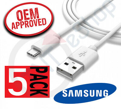 5x OEM Samsung EP-DN930 Galaxy USB Type C Fast Charger 4 FT Cable - White