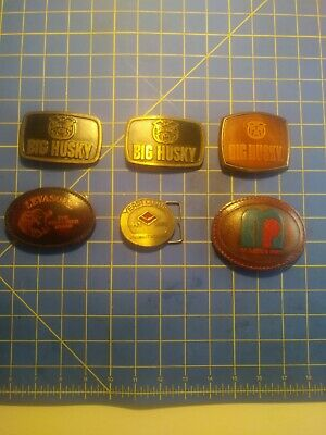 Agriculture Belt Buckle lot of 6 Brass/Leather Belt Buckles