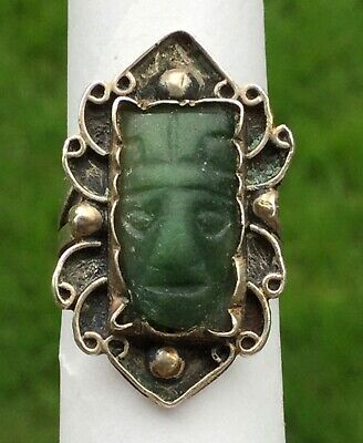 Antique Vtg Mexican Sterling Silver Carved Jade Face Ring - Unmarked - Taxco?