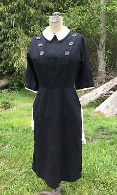 Antique Vtg 1930s 1940s I MAGNIN IMPORTERS Custom Tailored WOOL Dress - SHARP!