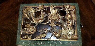 Antique Vintage Asian Chinese Deeply Carved Gilt Gold Wood Panel Art Carving