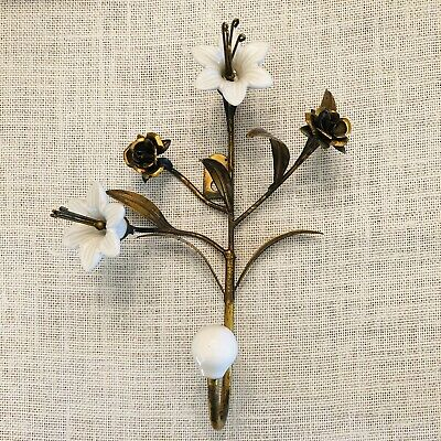 Mid Century Porcelain Flower Wall Hook Floral Gold Brass Vintage Daisy MCM Decor