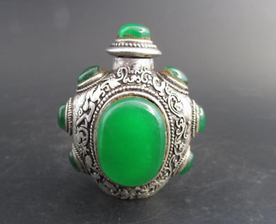 Old Chinese Dynasty silver inlay Green Jade Gem snuff bottle