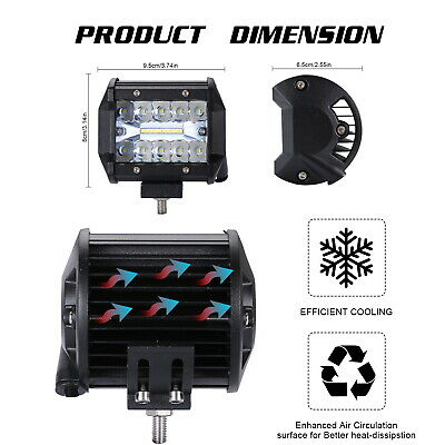 1 Pair 4 Inch 200W LED Work Light Three Row Mount Combo Driving Lamp NEW Quality
