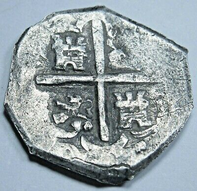1600's Spanish Silver 1 Reales Piece of 8 Real Colonial Pirate Cob Treasure Coin