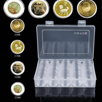 100pcs 30mm Coin Storage Capsules Clear Plastic Round Case Display Holder Box