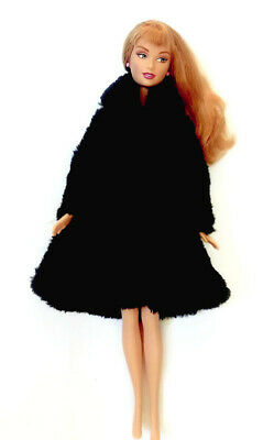 New Barbie doll clothes outfit black fur coat clothing winter