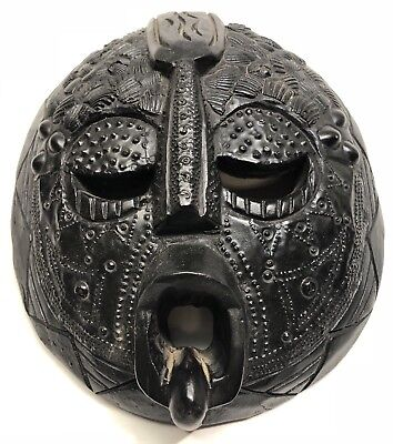 African Tribal Mask Finely Detailed Ashanti Tribe Hand Carved Wood