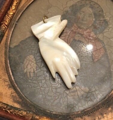 Antique Vintage Victorian Figural Hand Mother Of Pearl Pendant Charm Fob