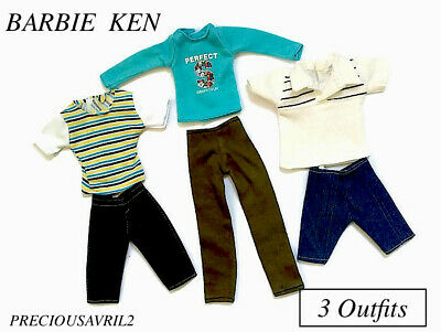 Ken Doll Barbie outfit clothing clothes t/shirts shorts - set of 3 outfits