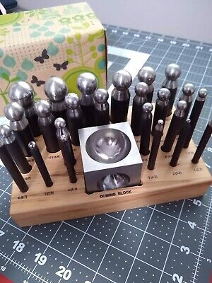 Dapping Doming Punch and Block Set 2.3 to 25.0mm Complete 26-Piece Metal Forming