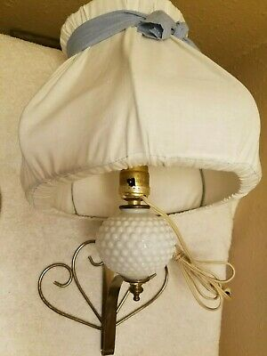 Ornate Mid Century Wall Sconce Light Vtg Wall Lamp electric Hobnail/Gold/Shade