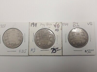 Canada 50 cents silver coins 1907, 1911 and 1914