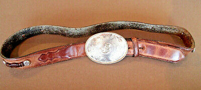 Justin Leather Belt with Buckle, Size 36