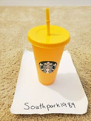 Single Starbucks COLOR CHANGING 1 Cold Cup 24oz Apricot - Tangerine *IN HAND*