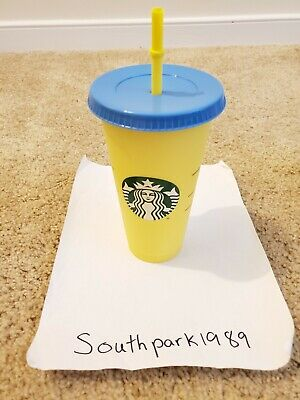 Single Starbucks COLOR CHANGING 1 Cold Cup 24oz Citron - Emerald  *IN HAND*
