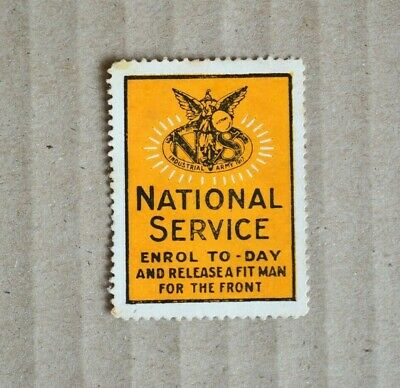 WW1 National Service Enrol To Day Cinderella Stamp