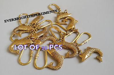 Lot Of 50 Pcs Vintage Reproduction Solid Brass Nautical Maritime Fish Key Chain