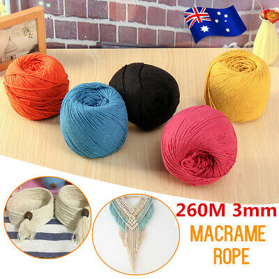 AU 260M/100M Macrame Rope Natural beige Cotton Twisted Cord Artisans Hand Craft