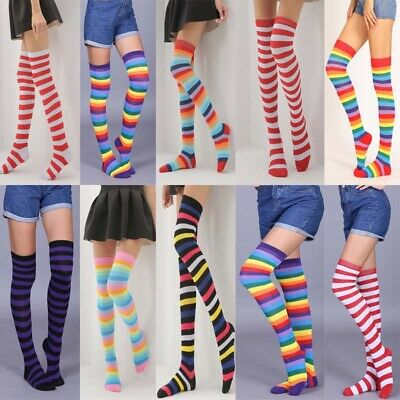 Womens Color Stripe Extra Long Boot Socks Over Knee High School Girls Stocking