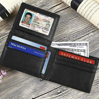 Trifold Wallet RFID BLACK GENUINE LEATHER LUXURY BIFOLD SLIM MENS ID NEW