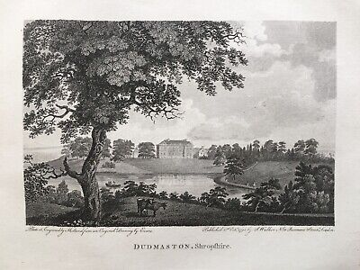 1792 Antique Print; Dudmaston Hall, Quatt, Shrophire after Samuel Evans