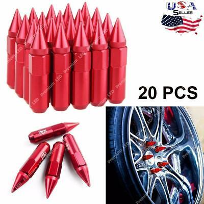 M12 X 1.5 60mm Aluminum Spike Tuner Extended Lug Nuts For Car Wheels Rims RED