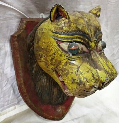 Vintage Wooden Miniature Carved Painting Work Tiger Face Wall Hanging Decorative