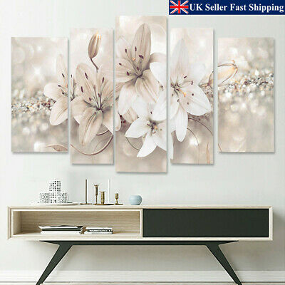 5Pcs Modern Abstract Flowers Canvas Print Painting Wall Art Picture Home  UK