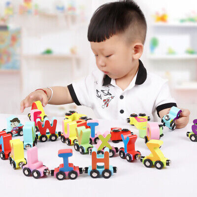 27pcs kids infant alphabet learning toy wooden magnetic alphabet train toys NEW