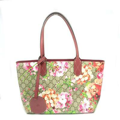 8b7a9e4ab75a Gucci GG Supreme Blooms Reversible Shoulder Tote Bag Antique Rose 372618