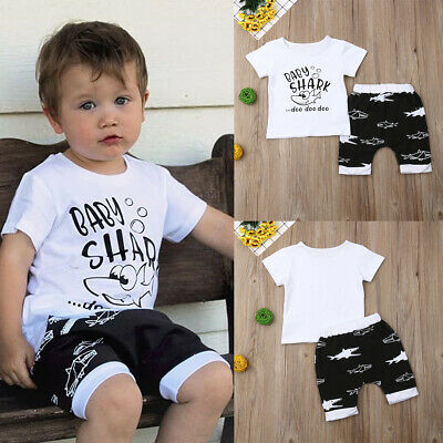 AU Toddler Baby Boys Shark Short Sleeve Tops Shorts Pants Outfits Summer Clothes