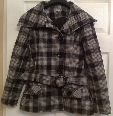 Girls Black/White Checked Belted Jacket, from Tammy