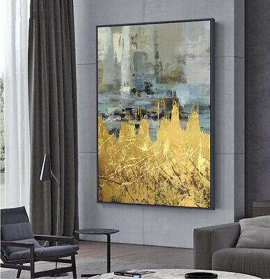 YA116 Hand-painted abstract Gold foil oil painting on canvas Unframed Wall decor