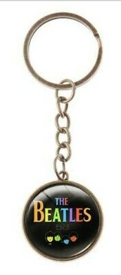 The Beatles Rock Band Glass Domed Metal Keychain Keyring
